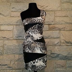 Vtg 90s 1 Shoulder Leopard Sequin Cocktail Dress M